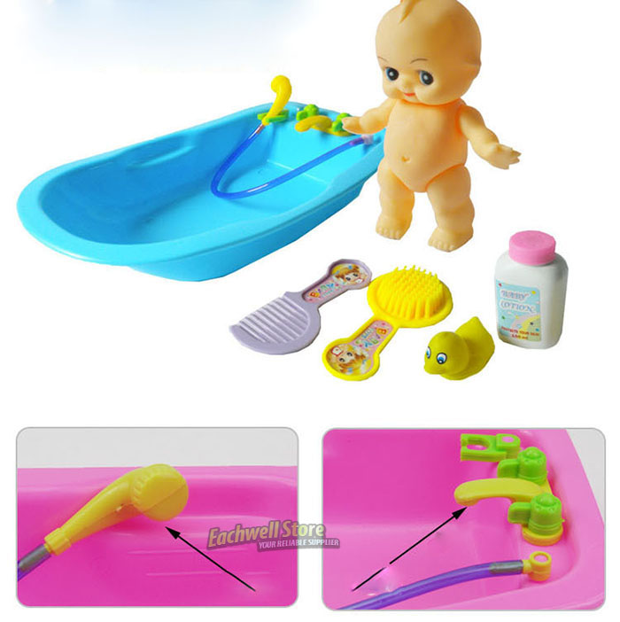 baby doll in bath tub with duck bathroom accessories set kids pretend play toy ebay. Black Bedroom Furniture Sets. Home Design Ideas